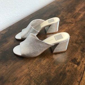 Dolce Vita Juels Silver Block Heel Slide Mule